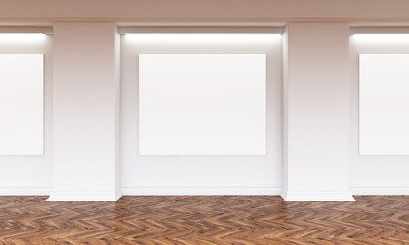 blank canvas: Gallery interior with several blank canvas hanging on wall. Wooden flooring. Mock up, 3D Rendering Stock Photo