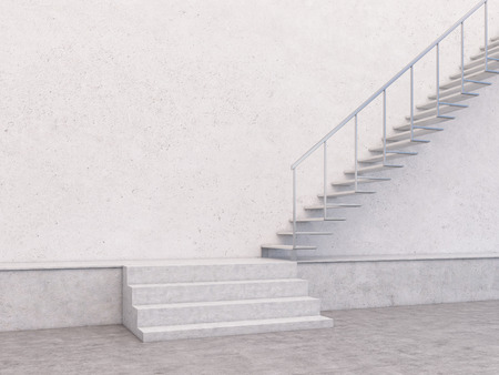 stairway: Empty concrete interior with stairway and blank wall. Mock up, 3D Rendering