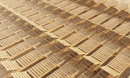 木製の長いすの行。Topview、3 D レンダリング