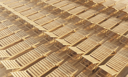 chaise: Rows of wooden chaise longues. Topview, 3D Rendering