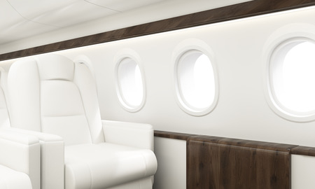Aircraft interior with white leather armchair, wooden insertions and several portholes. Sideview, 3D Rendering