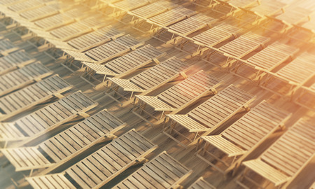 rows: Rows of wooden chaise longues. Filtered. Topview, 3D Rendering
