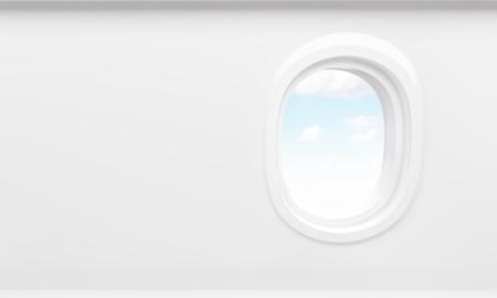 Hemel in het vliegtuig patrijspoort. Mock-up, 3D-rendering Stockfoto