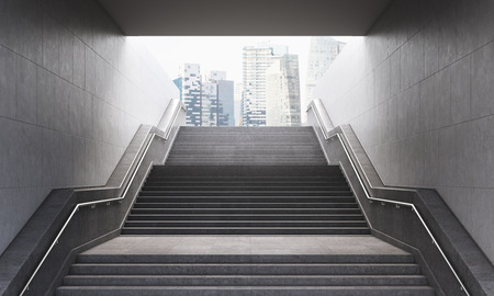 construction: Stairs leading out of concrete pedestrian subway to the city. Concept of success. New York.  3D Rendering
