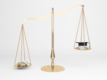 corruption: Corruption concept with cash and judges hat on justice scales. 3D Rendering Stock Photo