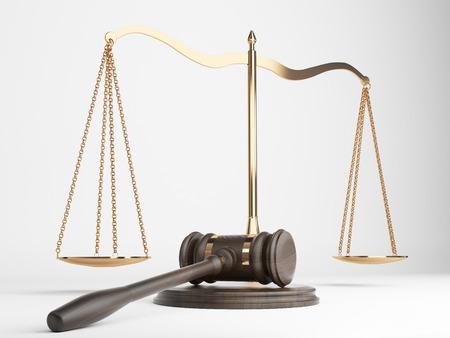 femida: Golden justice scales and hardwood gavel on light background. 3D Rendering