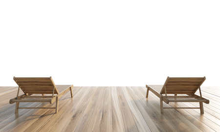 bliss: Two chaise longues on wooden ground isolated on white background. Mock up, 3D Rendering