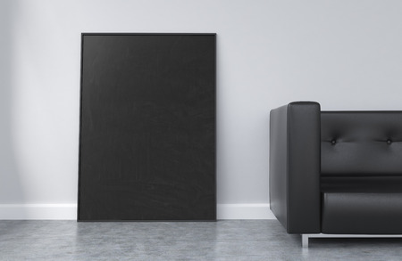 black picture frame: Concrete interior with black picture frame and sofa. Mock up, 3D Rendering