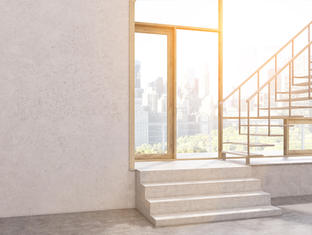 stairs interior: Sunlit concrete interior with stairs, window with New York city view and blank wall. Mock up, 3D Rendering