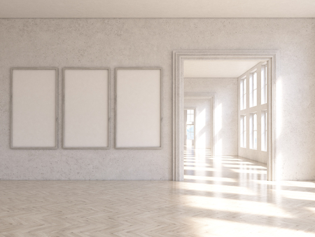 archway: Interior design with three blank picture frames and archway. Mock up, 3D Rendering Stock Photo