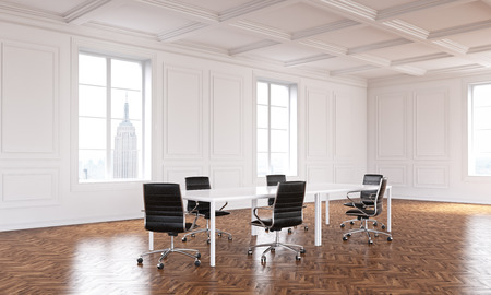 Meeting table in big hall, windows, New York view, luxury parquet. Concept of new office. Mock up. 3D rendering