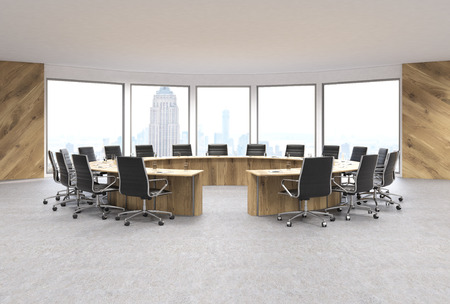 swivel: Conference room interior design with circular wooden table, swivel chairs and New York city view. 3D Rendering