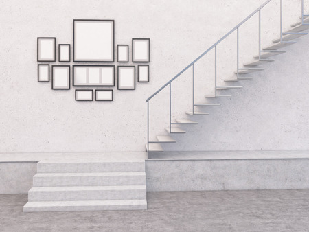 stairs interior: Collection of empty frames in concrete interior with stairs. Mock up, 3D Rendering Stock Photo