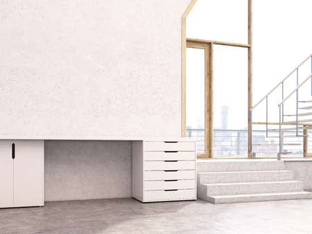 stairs interior: Concrete interior with window, stairs, drawers and blank wall. Mock up, 3D Rendering