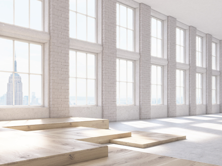 fragments: Sideview of brick interior with wooden fragments on floor. 3D Rendering