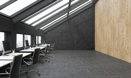 sideview: Sideview of black coworking area with wooden wall and New York city view. 3D Rendering