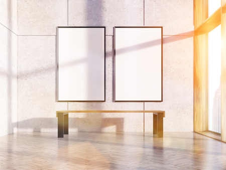 sunlit: Two blank picture frames in sunlit interior with bench, concrete wall, wooden floor and New York city view. Toned image. Mock up, 3D Rendering