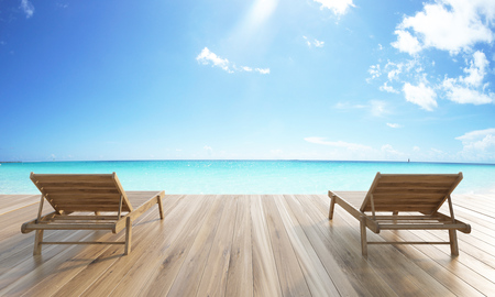 oceanside: Wooden ground with two chaise longues on sea and skies background. 3D Rendering Stock Photo