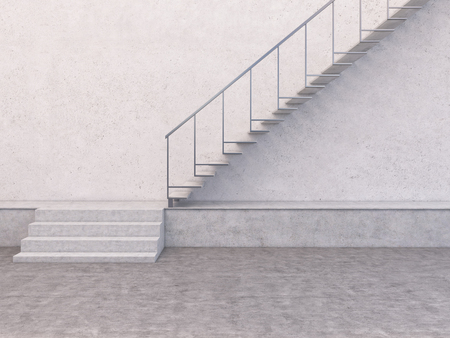 solid background: Concrete interior with blank wall and stairway. Mock up, 3D Rendering