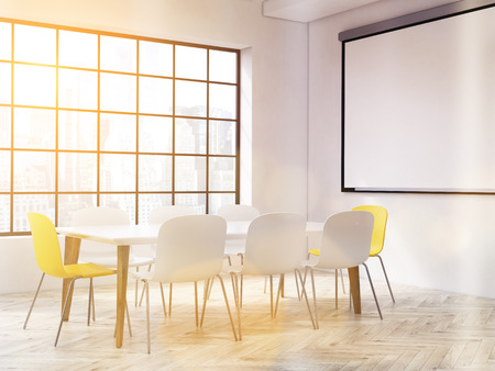 toned: Interior design with large table, chairs, blank whiteboard and New York city view. Toned image. Mock up, 3D Rendering