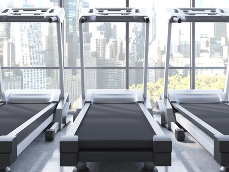 central park: Three treadmills in room with NY Central Park view. 3D Rendering Stock Photo