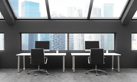 frontview: Frontview of workplaces in black coworking area with Singapore city view. 3D Rendering