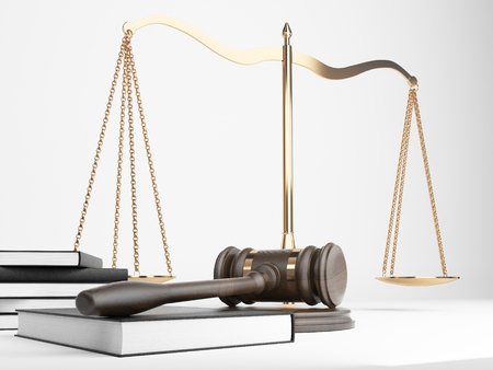 tribunal: Golden justice scales, books and hardwood gavel on light background. 3D Rendering Stock Photo