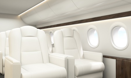 portholes: Airplane interior with white leather armchairs, wooden insertions and several portholes with sky view. Sideview, 3D Rendering Stock Photo