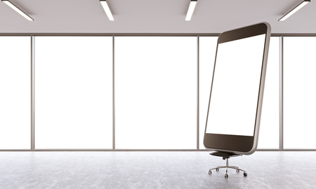 office window view: Huge smartphone model with white screen in empty office. Panoramic window, city view. Concept of presentation. Mock up. 3D rendering Stock Photo