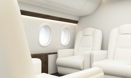 business class travel: White leather seats in aircraft interior with wooden insertions and portholes. 3D Rendering Stock Photo