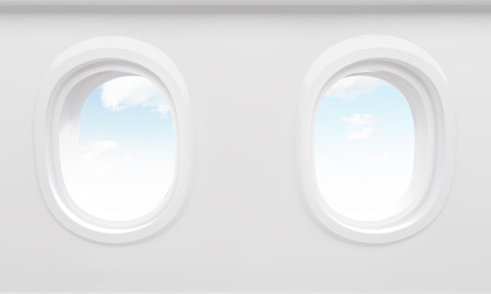 portholes: Sky in two airplane portholes. 3D Rendering