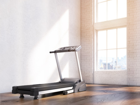 sideview: Sideview of treadmill in interior with parquet, concrete and wooden walls and sunlight. 3D Rendering