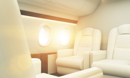 portholes: White leather seats in aircraft interior with wooden insertions, portholes and sunshine. Toned image, 3D Rendering Stock Photo