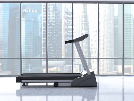 singapore city: Sideview of treadmill in interior with concrete wall and windows with Singapore city view. 3D Rendering