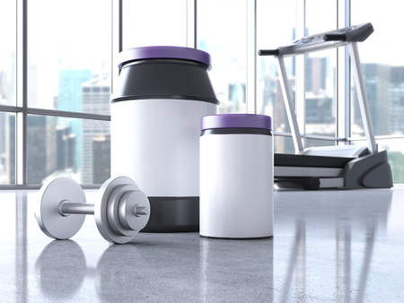 powder room: Protein powder containers with blank labels, dumbbell and treadmill in interior with concrete floor and windows with city view. Mock up, 3D Rendering