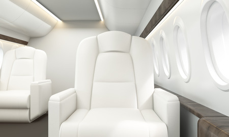 private jet: White leather armchair in private jet interior. 3D Rendering