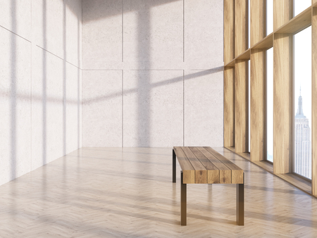wooden bench: Sideview of wooden bench in interior with concrete wall, parquet flooring and windows with New York city view. 3D Rendering