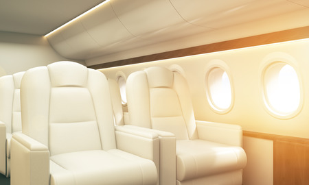 business class travel: Airplane interior with white leather armchairs, wooden insertions and several portholes with sky view. Toned image. Sideview, 3D Rendering