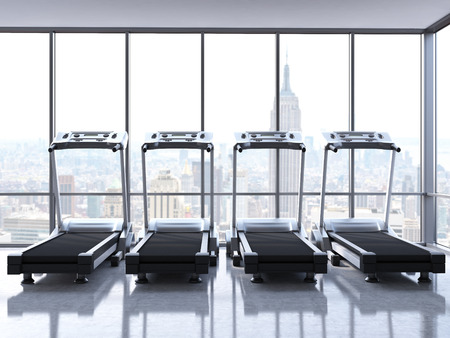 rearview: Rearview of four treadmills in room with concrete floor and windows with New York city view. 3D Rendering