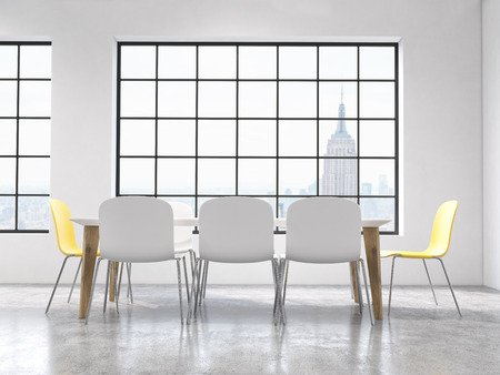 comfort classroom: Concrete interior design with table, chairs and windows with New York city view. 3D Rendering Stock Photo