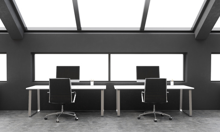 frontview: Frontview of workplaces in black coworking area. 3D Rendering