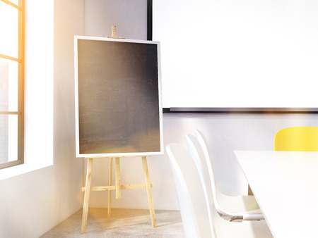toned: Blackboard stand and whiteboard in concrete room with sunlight. Toned image. Mock up, 3D Rendering