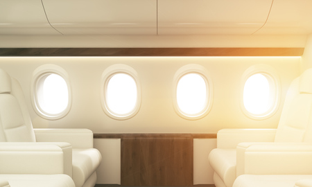 portholes: Four portholes with sunshine in white airplane interior. Toned image, 3D Rendering Stock Photo