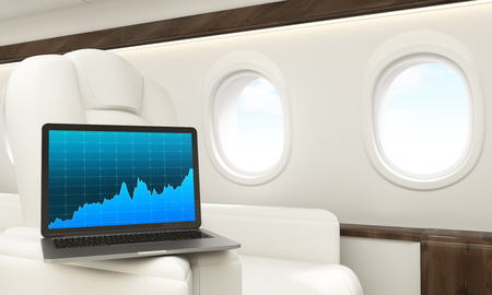 leather armchair: Laptop with business chart placed on white leather armchair handle in airplane interior. 3D Rendering