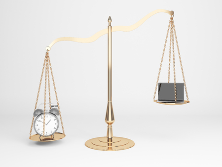 femida: Golden justice scales with alarm clock and laptop on light background. 3D Rendering