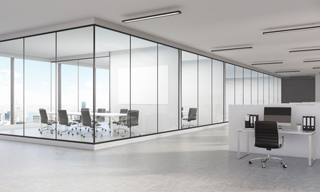 large office: Sideview of large office interior with New York city view and blank whiteboard. 3D Rendering Stock Photo