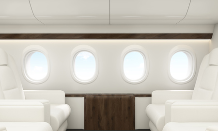 portholes: Portholes with sky view in white airplane interior. 3D Rendering Stock Photo