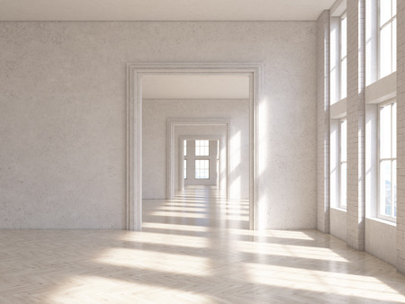 archway: Sunlit concrete interior design with wooden floor and archway. 3D Rendering Stock Photo