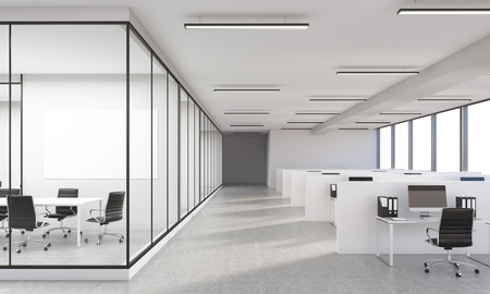 spacious: Concrete office interior with blank whiteboard. 3D Rendering Stock Photo