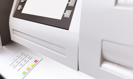 sideview: Closeup of ATM machine with blank display. Sideview, Mock up, 3D Rendering